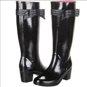 Kate Spade Randi Too Rain Boots Bow Black Size 10